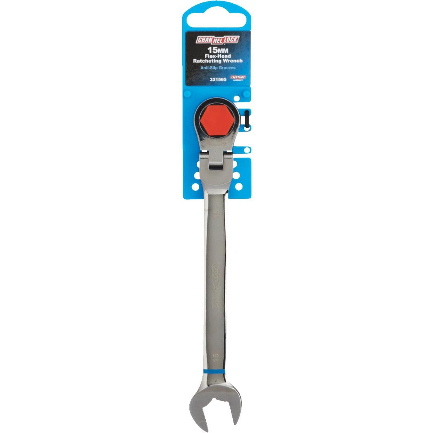 Channellock Metric 15 mm 12-Point Ratcheting Flex-Head Wrench Image 2