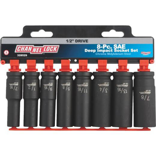 Channellock Standard 1/2 In. Drive 6-Point Deep Impact Driver Set (8-Piece)