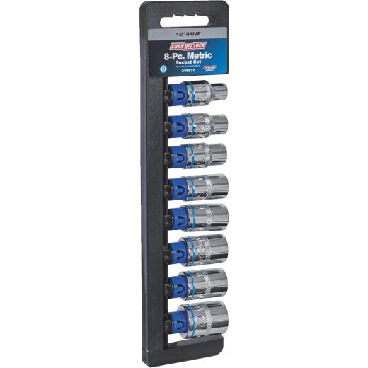 Channellock Metric 1/2 In. Drive 12-Point Shallow Socket Set (8-Piece)