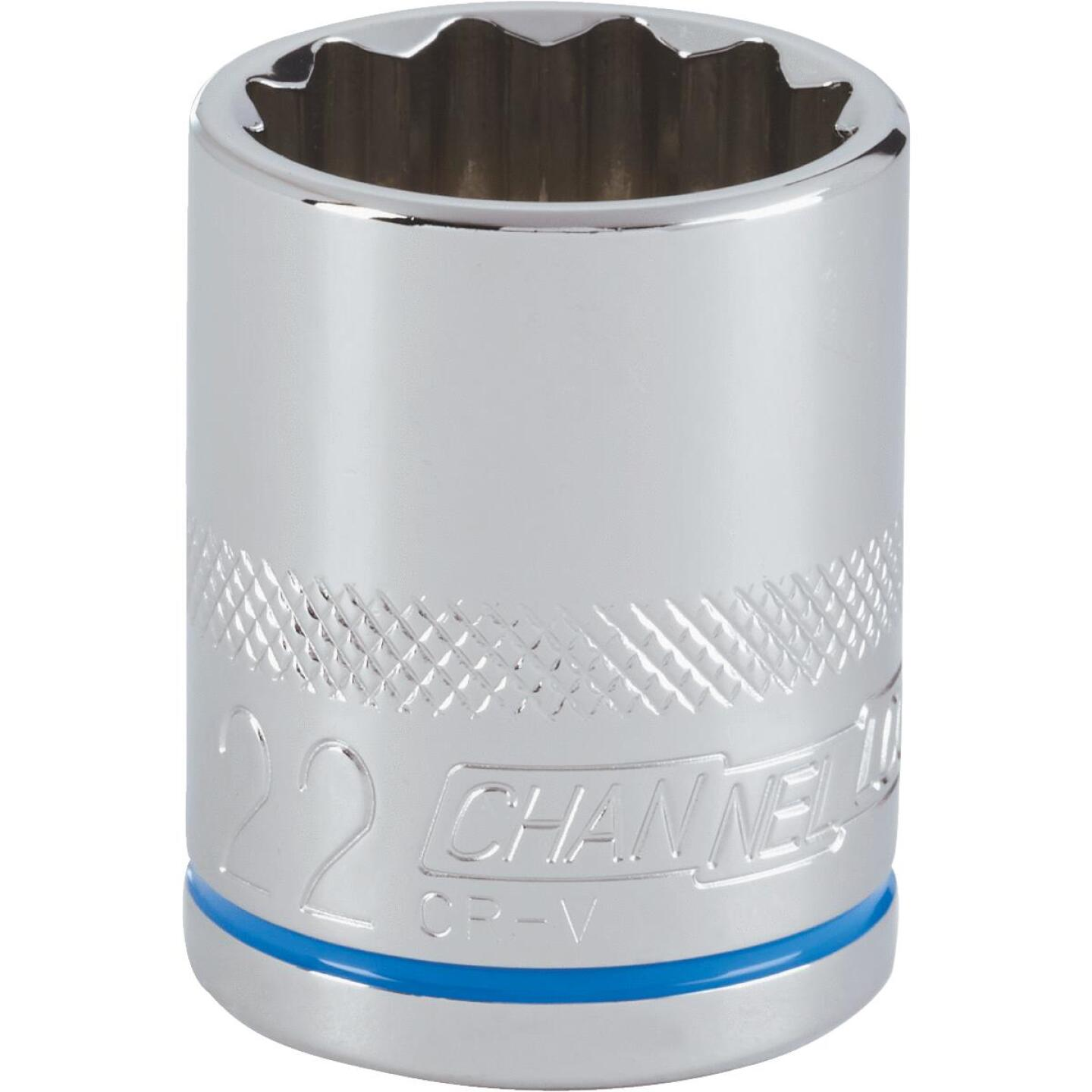 Channellock 1/2 In. Drive 22 mm 12-Point Shallow Metric Socket Image 1